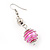 Silver Tone Fuchsia Pink Faux Pearl Drop Earrings - 5cm Drop - view 3
