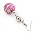Silver Tone Fuchsia Pink Faux Pearl Drop Earrings - 5cm Drop - view 4