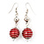 Silver Tone Bright Red  Faux Pearl Drop Earrings - 5.5cm Drop - view 1
