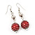 Silver Tone Bright Red  Faux Pearl Drop Earrings - 5.5cm Drop - view 2