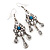 Vintage Hammered Blue Crystal Drop Earrings (Burn Silver Finish) - 6cm Length - view 3