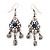 Vintage Hammered Blue Crystal Drop Earrings (Burn Silver Finish) - 6cm Length
