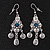 Vintage Hammered Blue Crystal Drop Earrings (Burn Silver Finish) - 6cm Length - view 2