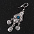 Vintage Hammered Blue Crystal Drop Earrings (Burn Silver Finish) - 6cm Length - view 4