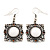 Burn Silver Square Filigree Drop Earrings - 4.5cm Length - view 5