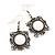 Burn Silver Square Filigree Drop Earrings - 4.5cm Length - view 2