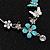 Long Oval Hoop Enamel Butterfly Earrings (Rhodium Plated Finish) - 10cm Length - view 5
