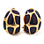 Small C-Shape Deep Purple Enamel Clip On Earrings In Gold Plated Metal - 18mm Length