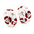 C-Shape Red/White Floral Enamel Crystal Clip On Earrings In Rhodium Plated Metal - 2cm Length - view 4