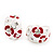 C-Shape Red/White Floral Enamel Crystal Clip On Earrings In Rhodium Plated Metal - 2cm Length - view 6