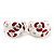 C-Shape Red/White Floral Enamel Crystal Clip On Earrings In Rhodium Plated Metal - 2cm Length - view 7