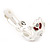 C-Shape Red/White Floral Enamel Crystal Clip On Earrings In Rhodium Plated Metal - 2cm Length - view 5