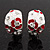 C-Shape Red/White Floral Enamel Crystal Clip On Earrings In Rhodium Plated Metal - 2cm Length - view 2