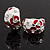 C-Shape Red/White Floral Enamel Crystal Clip On Earrings In Rhodium Plated Metal - 2cm Length - view 3