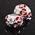 C-Shape Red/White Floral Enamel Crystal Clip On Earrings In Rhodium Plated Metal - 2cm Length