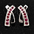 Silver Plated Pink Crystal 'Cross' Metal Stud Earrings - 2cm Length