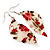 Floral Acrylic 'Leaf' Drop Earrings (White, Red & Green) - 8cm Drop