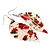 Floral Acrylic 'Leaf' Drop Earrings (White, Red & Green) - 8cm Drop - view 2