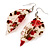Floral Acrylic 'Leaf' Drop Earrings (White, Red & Green) - 8cm Drop - view 3