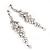 Long Swarovski Clear Crystal Chandelier Earrings ( Silver Plated Metal) - 11.5cm Drop - view 2