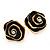 Black Enamel Dimensional Rose Stud Earrings In Gold Metal - 2cm in diameter