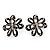 Black Enamel Dimensional Floral Stud Earrings In Silver Plated Metal - 2.5cm in diameter