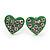 Tiny Green Crystal Enamel 'Heart' Stud Earrings In Silver Plated Metal - 10mm Diameter