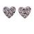 Tiny Lavender Crystal Enamel 'Heart' Stud Earrings In Silver Plated Metal - 10mm Diameter