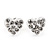 Tiny White Crystal Enamel 'Heart' Stud Earrings In Silver Plated Metal - 10mm Diameter