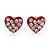 Tiny Red Crystal Enamel 'Heart' Stud Earrings In Silver Plated Metal - 10mm Diameter