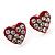 Tiny Red Crystal Enamel 'Heart' Stud Earrings In Silver Plated Metal - 10mm Diameter - view 2
