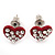 Tiny Red Crystal Enamel 'Heart' Stud Earrings In Silver Plated Metal - 10mm Diameter - view 3
