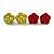 Small Yellow/ Deep Pink/ Red Rose Stud Earring Set In Silver Tone Metal - 10mm D - view 3