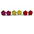 Small Yellow/ Deep Pink/ Red Rose Stud Earring Set In Silver Tone Metal - 10mm D - view 2