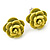 Small Yellow/ Deep Pink/ Red Rose Stud Earring Set In Silver Tone Metal - 10mm D - view 8