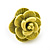 Small Yellow/ Deep Pink/ Red Rose Stud Earring Set In Silver Tone Metal - 10mm D - view 5