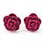 Tiny Deep Pink 'Rose' Stud Earrings In Silver Tone Metal - 10mm Diameter