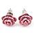 Tiny Light Pink 'Rose' Stud Earrings In Silver Tone Metal - 10mm Diameter - view 7