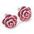 Tiny Light Pink 'Rose' Stud Earrings In Silver Tone Metal - 10mm Diameter - view 2