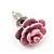 Tiny Light Pink 'Rose' Stud Earrings In Silver Tone Metal - 10mm Diameter - view 6