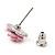 Tiny Light Pink 'Rose' Stud Earrings In Silver Tone Metal - 10mm Diameter - view 4