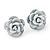 Tiny White 'Rose' Stud Earrings In Silver Tone Metal - 10mm Diameter - view 3