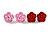 Tiny Red 'Rose' Stud Earrings In Silver Tone Metal - 10mm Diameter - view 10