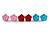 Tiny Red 'Rose' Stud Earrings In Silver Tone Metal - 10mm Diameter - view 11
