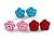Tiny Red 'Rose' Stud Earrings In Silver Tone Metal - 10mm Diameter - view 12