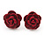 Tiny Red 'Rose' Stud Earrings In Silver Tone Metal - 10mm Diameter - view 1