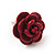 Tiny Red 'Rose' Stud Earrings In Silver Tone Metal - 10mm Diameter - view 8