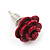 Tiny Red 'Rose' Stud Earrings In Silver Tone Metal - 10mm Diameter - view 9