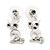 Small Clear Crystal Cute 'Owl' Stud Drop Earrings In Rhodium Plated Metal - 3cm Length - view 2