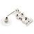 Small Clear Crystal Cute 'Owl' Stud Drop Earrings In Rhodium Plated Metal - 3cm Length - view 5